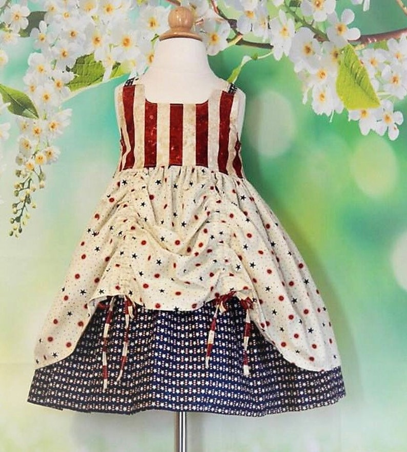 patriotic dress Fourth of July dress summer dress girls sundress racerback dress RTS size 4T red white and blue dress 4th of July