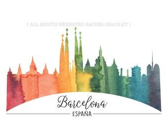 Barcelona Art Print // Spain Watercolor - Watercolor Art Print - Barcelona - Watercolor Skyline - Sky Line - Barcelona - Espana - Spain