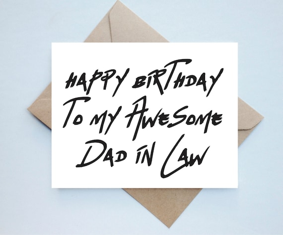 Dad In Law Birthday Card Father In Law Dad In Law Etsy