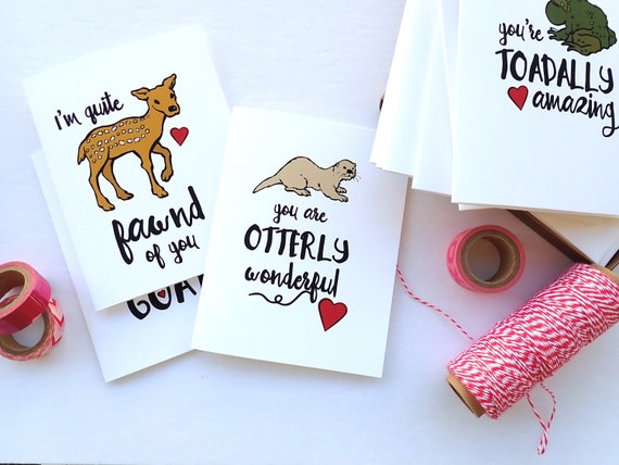 Image of: Valentines Day Image Amazoncom Assorted Valentine Card Set 10 Animal Puns Handmade Etsy