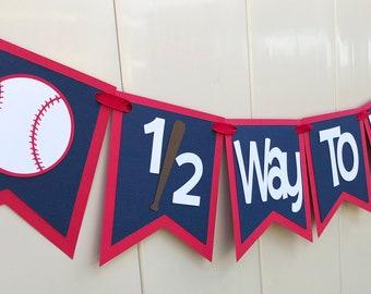 Baseball 1 2 Birthday Banner Half Way To First Theme Boy Decorations