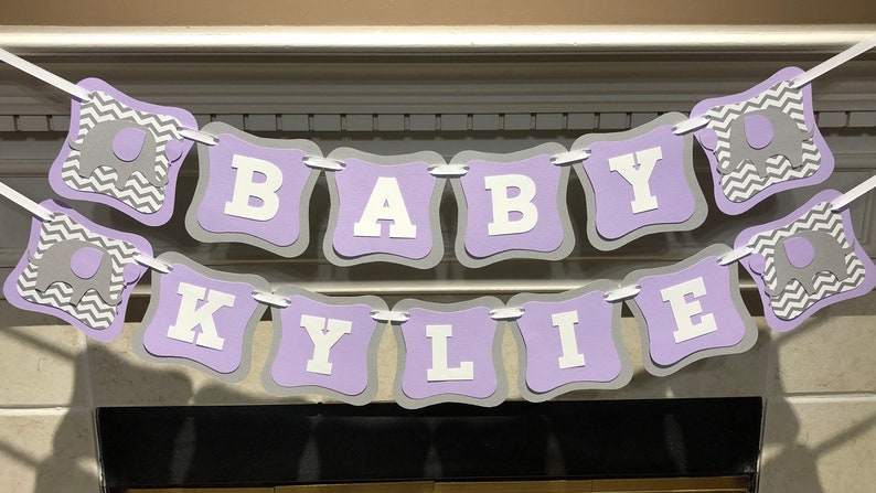 Elephant Baby Shower Banner Custom Decorations Personalized Chevrone Name Banner