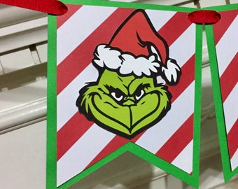 Grinch Christmas Birthday High Chair Banner, ONE Banner, Merry Grinchmas, Baby's First Christmas photo prop, Grinch banner,  Smash cake