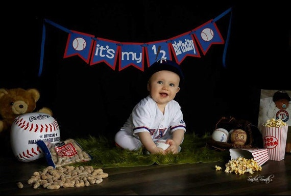 Baseball 1 2 Birthday Banner Its My Red And Blue Half Boy Decorations Photo Prop