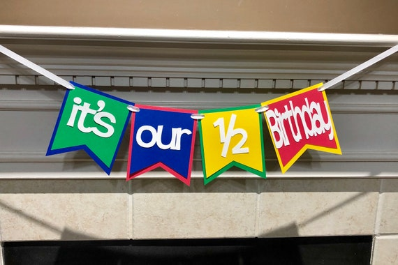 Twins Its Our 1 2 Birthday Banner Half Decorations Primay Color Photo Prop
