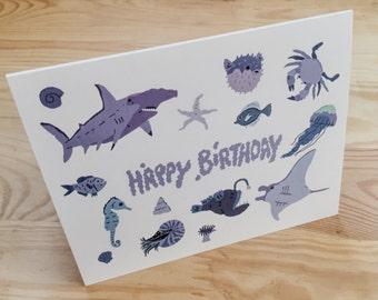 Underwater Wildlife Birthday Card - Happy Birthday - Blank inside