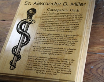 Personalized Osteopathic Oath Wood Plaque, Engraved Graduate Gift, Doctors Office Decor, Rod of Asclepius, Medical Student, MD, Healthcare,