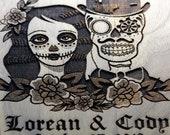 Personalized Cutting Board, Sugar Skull Wedding, Bride and Groom Gift, Gothic Wedding, Skull Wedding, Couples Gift, Wedding Gift, Engraved