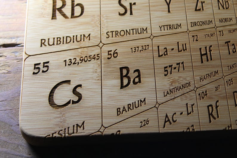 Periodic Table Cutting Board Science Art Science Gift Personalized Cutting Board Periodic Table Decor Periodic Table of Elements