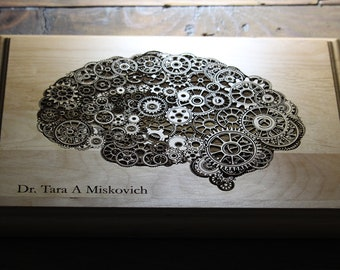 Personalized Steampunk Brain Plaque, Psychologist Gift, Office Decor, Future Doctor, Doctor Gift, Medical Art, Psychology Art, Human Brain