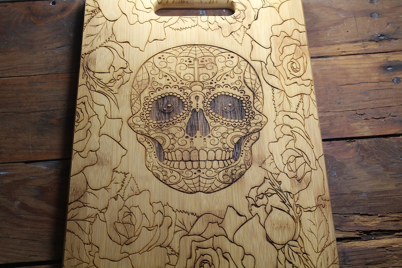 Personalized Sugar Skull Cutting Board Engraved Flower Skull Bamboo Large 14x10