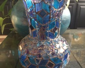 Mosaic glass vase Genie glass vase blue purple mirror handmade handmade USA