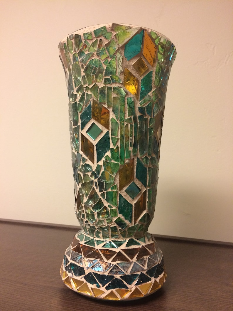 Mosaic Vase Glass Decorations Green Brown Home