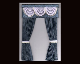 Victorian/Edwardian Style 1/12th Scale Dark Blue Patterned Dolls House Wood Pelmet Curtains with Lilac Swags