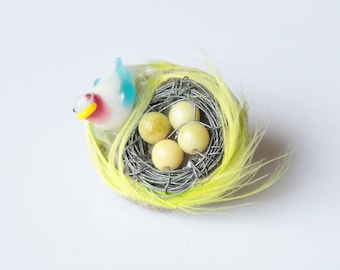 SALE!!! Bird Nest Brooch