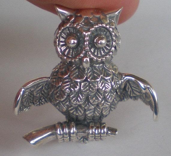 Owl Of Wisdom Silver Brooch Pin Goddess Athena Symbol Ancient Greece