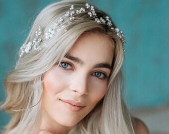 Wedding Headband, Bridal Headband, Pearl Headband, Bridal Crown, Wedding Hair Vine, Wedding Headpiece, Wedding Tiara, Bridal Hairpiece- MAIA