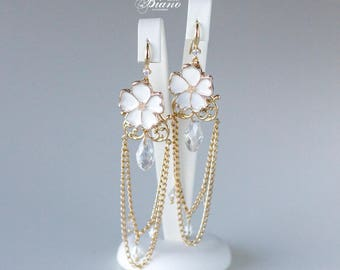 Gold Bohemian Earrings, Wedding Earrings, Bridal Earrings, Crystal Chain Earrings, Flower Earrings, Wedding Jewelry, Chandelier Earrings-LEE