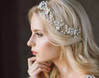 Wedding Headband,  Headband, Pearl Headband, Wedding Hair Vine, Bridal Wreath, Floral Tiara, Diadem, Wedding Headpiece, Bridal Tiara- LENA