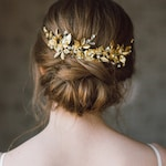 Wedding Headpiece veil, Bridal Back Headpiece, Headpiece for updos, Grecian Hairpiece gold, Wedding Hair Vine, Leaf Halo- ANTHEIA