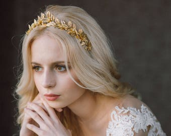 Greek Goddess Leaf Crown, Wedding Leaf Headband, Bridal hairpiece, Wedding Headpiece, Leaf Branch, Leaf Headband, Gold Leaf Crown- MIRELLA