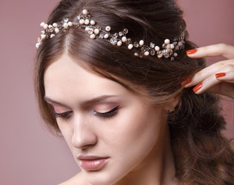 Wedding Headband, Wedding Hair Vine, Wedding Tiara, Wedding Headpiece, Bridal Crystal Headband, Bridal Hair Vine, Wedding Tiara- ROXANA