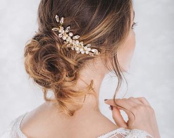 Wedding Comb, Crystal Comb, Pearl Comb, Bridal Flower Headpiece, Crystal wedding headpiece, Wedding Hair Accessory, Gold Hair Comb- DIANA