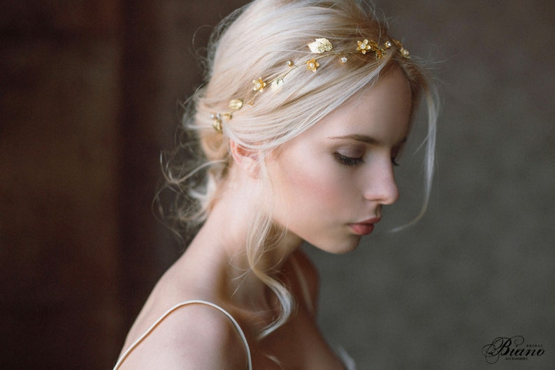 Bridal Headband gold leaf Wedding Headband gold Bridal image 0