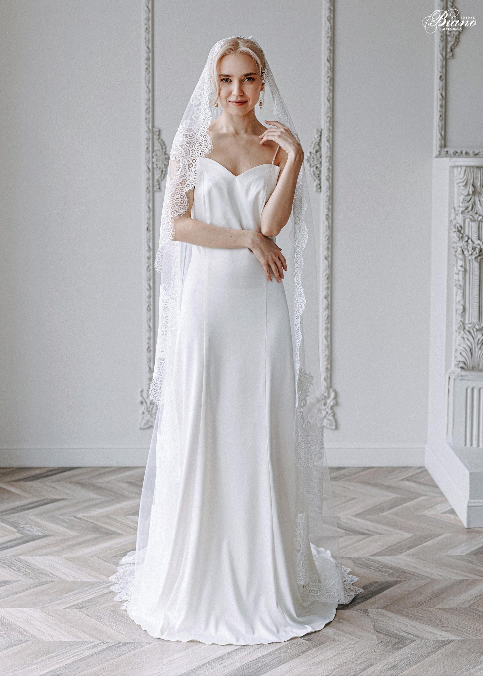Brautschleier Mantilla mit Spitze