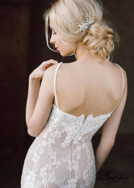 Wedding Hair Comb Pearl Headpiece Bridal Headpiece Bridal Blossom Hair Comb- KALLIOPE Wedding Hair Accessory Pearl Bridal Hair Comb