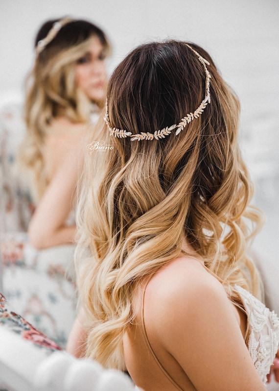 Bridal Halo Headpiece Gold Bridal Headdress Floral Tiara Flower Hair Vine Bridal Wedding Hair Piece Bridal Headband Side Halo Gold HP-007