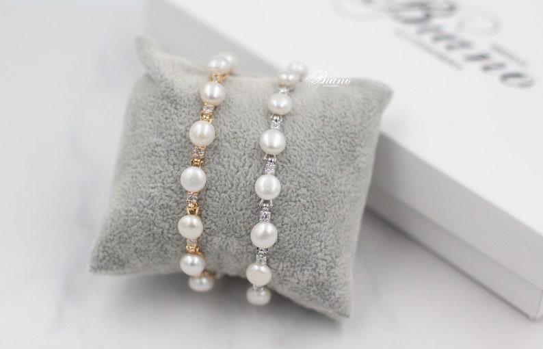 Sis Freshwater Pearl earrings Bridal long earrings Wedding pearl jewelry set Pearl bracelet for bride Statement jewelry Dangle earrings