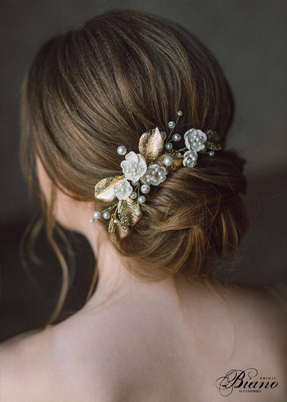 Bridal Pearl Hair Comb Gold Leaf Bridal Hair Comb Gold Leaf image 0