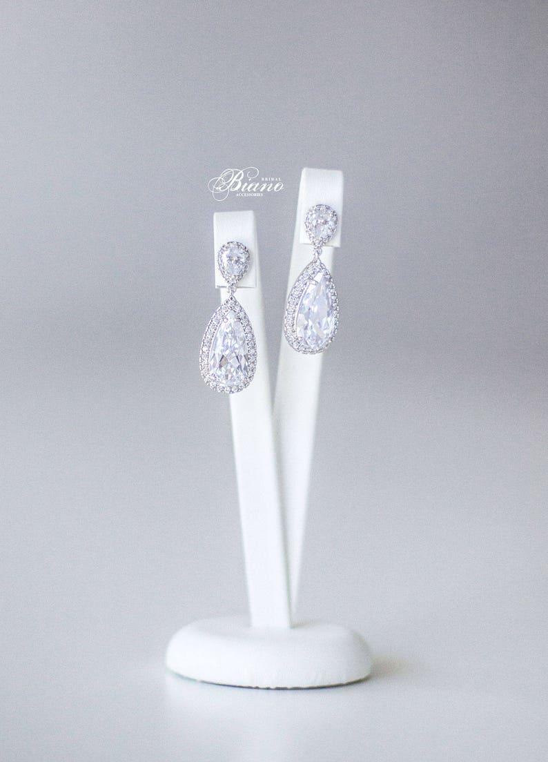 Bridal Teardrop Earrings Wedding Zirconia Earrings Statement image 0