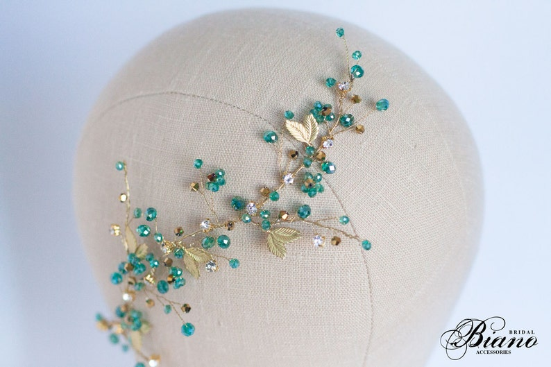 Turquoise Wedding Hair Comb Party Hair Accessory Turquoise image 0
