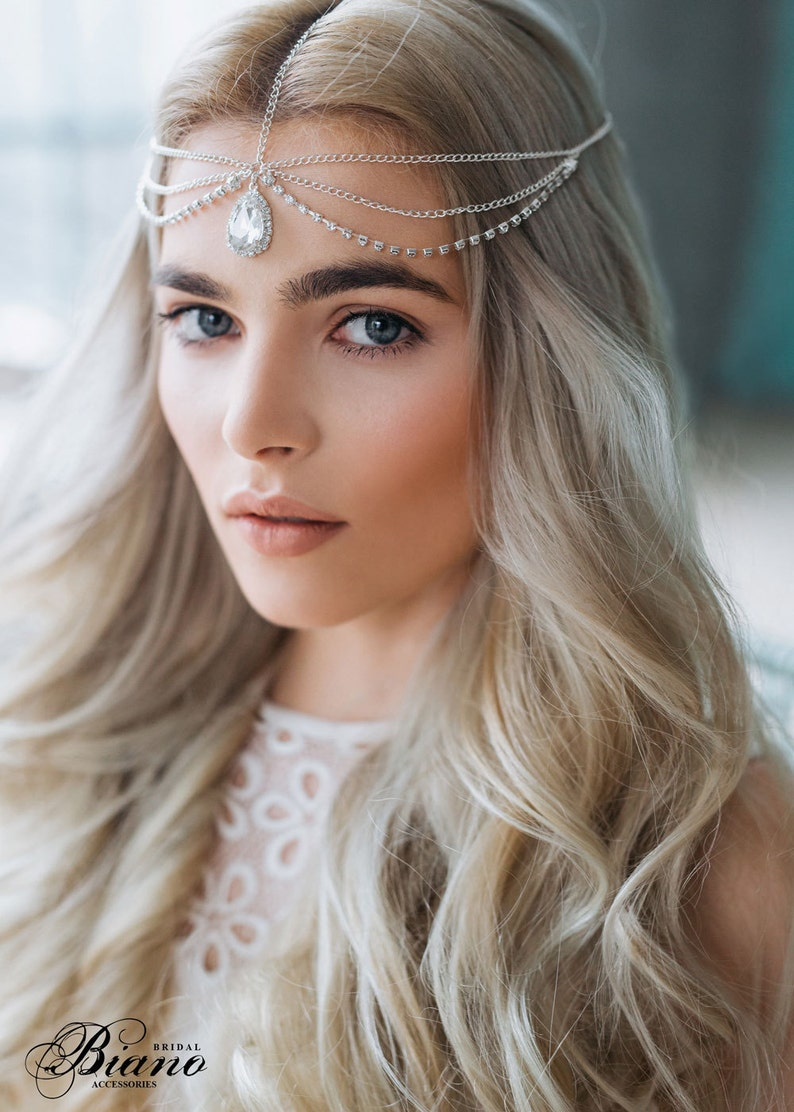 Wedding Chain Headpiece Silver Hair Chain Bridal Hair image 0
