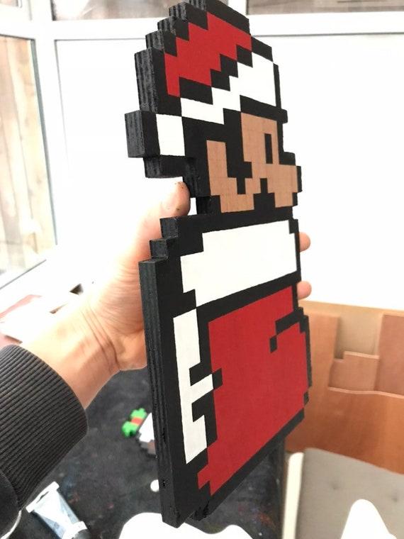 Mario Noël Pixel Art Fait à La Main En Bois Pixel Mario Plaque Murale Ou Un Cadeau