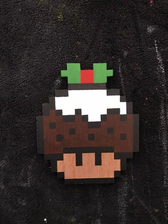 Christmas Mario Mushroom Unique Handmade Wooden Pixel Art Wall Art Wall Hanging