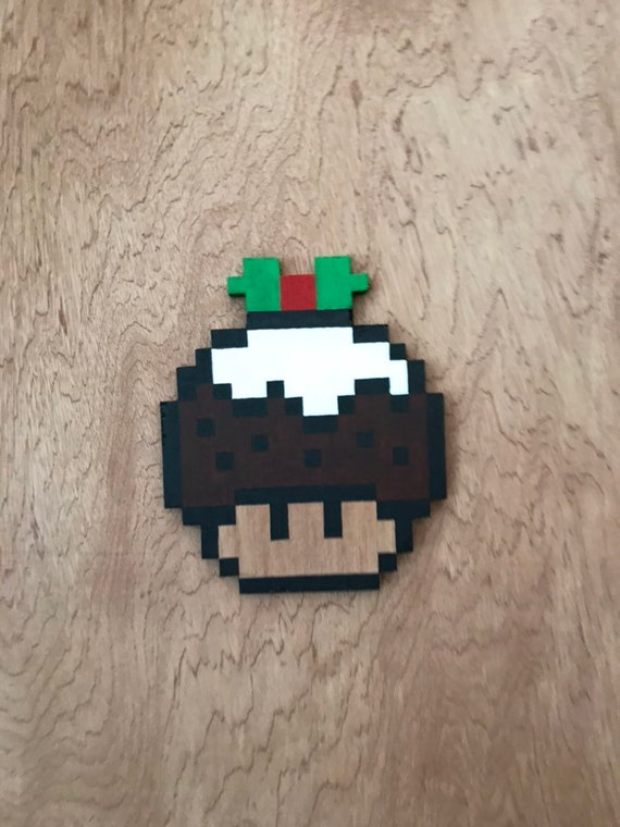 Christmas Mario Mushroom Unique Handmade Wooden Pixel Art Wall Art Wall Hanging