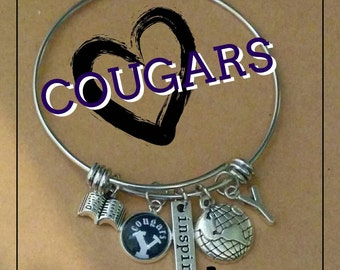Brigham Young University, Cougar love, byu, Expandable stainless steel bracelet, with charms, glass dome charm
