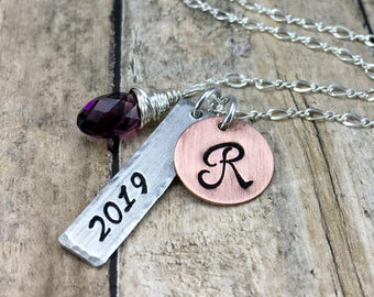 Class of 2018 2019 2020 2021 Graduation Necklace | Graduation Jewelry | Graduation Monogram Necklace | Senior Necklace | Graduation Gift