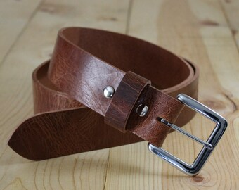 "Handmade Genuine Buffalo Leather Belt_Men's Belt_1.25"" & 1.5""_Made in Indianapolis, USA"