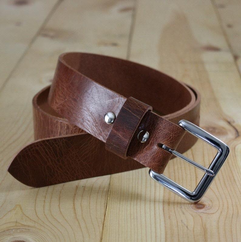 "Handmade Genuine Buffalo Leather Belt_Men's Silver / 1.5"""