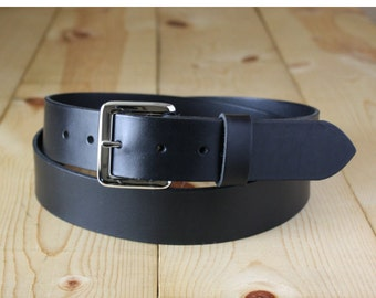 "1-1/4"" Handmade Bullhide Leather Belt _ Mens Belt _ Dress Casual Belt_ Made in Indianapolis, USA"