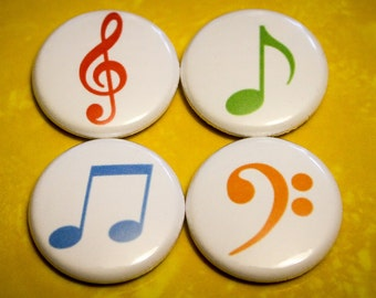 Music Notes 4 Pack - 1 Inch Pin Back or Magnet Back Buttons