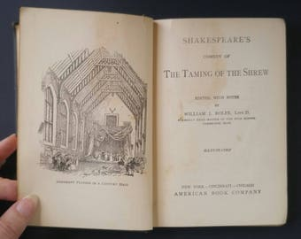 Antique 1909 Shakespeare's The Taming of the Shrew ~ William Rolfe ~ Antique Book ~ Classic Literature ~ William Shakespeare