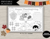 "Kids Thanksgiving Placemat - ""THANKSGIVING PLACEMAT"" kids table, thanksgiving, activity, maze, coloring, word search, printable, download"