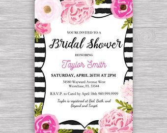 Boy carousel invitation digital file carousel etsy black stripe bridal invitation digital file black stripe invitation with watercolor flower accents for babybridal shower stopboris Choice Image