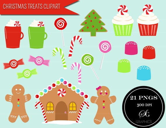 Christmas Candy Clipart.Christmas Candy Clipart Set Christmas Treats Clipart With Bright Gingerbread Coffee Cupcake Candy Cane Gumdrop Clips For Download