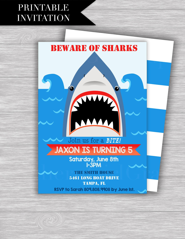 Shark Birthday Invitation Printable SHARK
